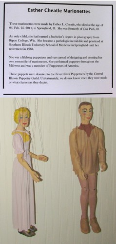 Esther Cheatle Marionettes sign and puppets
