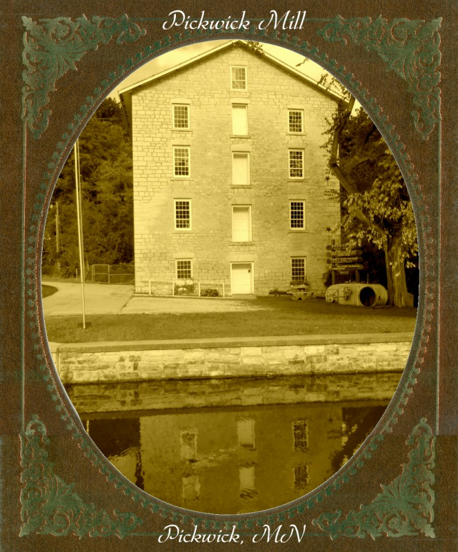 Pickwick Mill sepia frame text