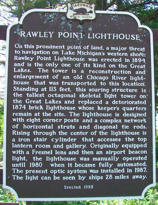 Rawley Point Lighthouse marker
