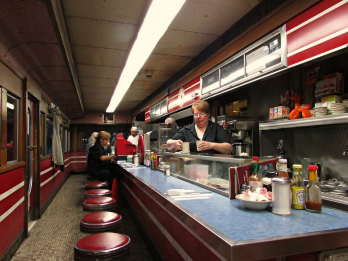 Inside Mickey's Diner Car
