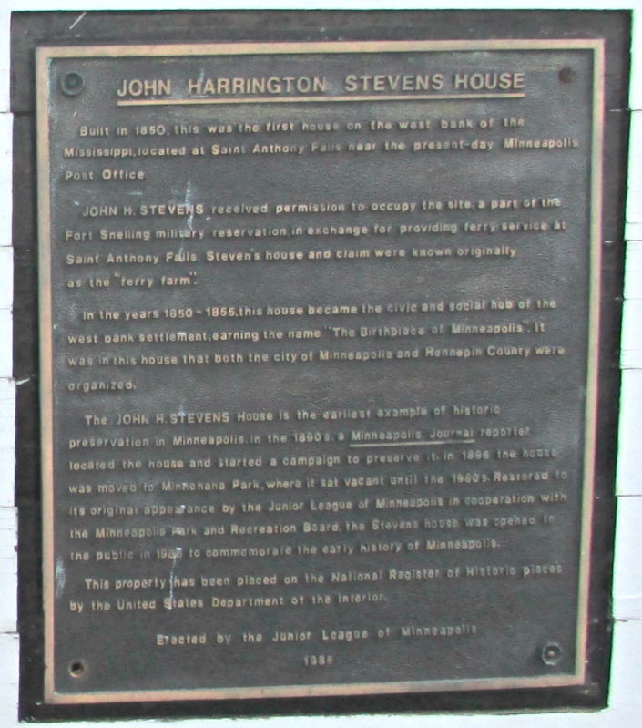 John H. Stevens House plaque