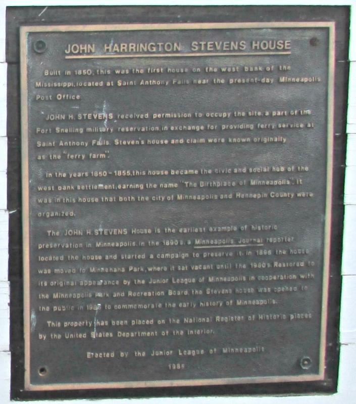 John H. Stevens House plaque