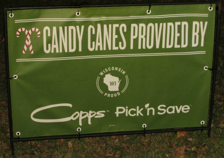 Candy cane sign at Lights
