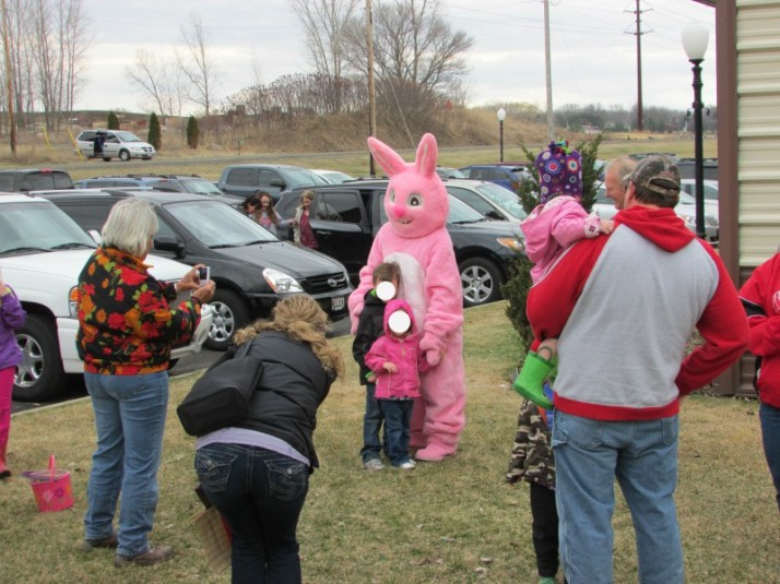 Easter Bunny with kids at Easter Egg Hunt blank faces