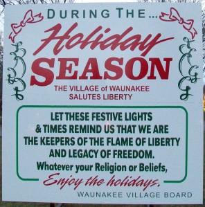 Holiday Season sign at Waunakee Lights