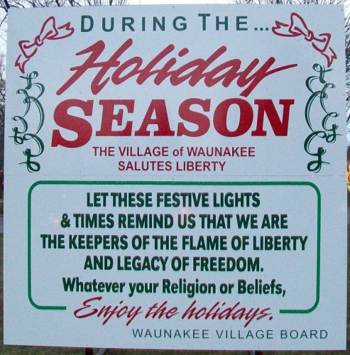 Holiday Season sign at Waunakee Lights