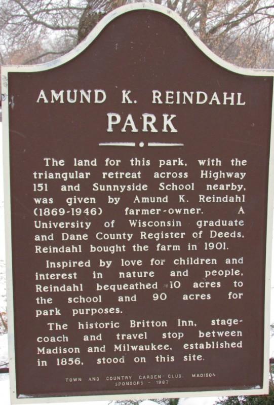 Reindahl Park marker in Madison
