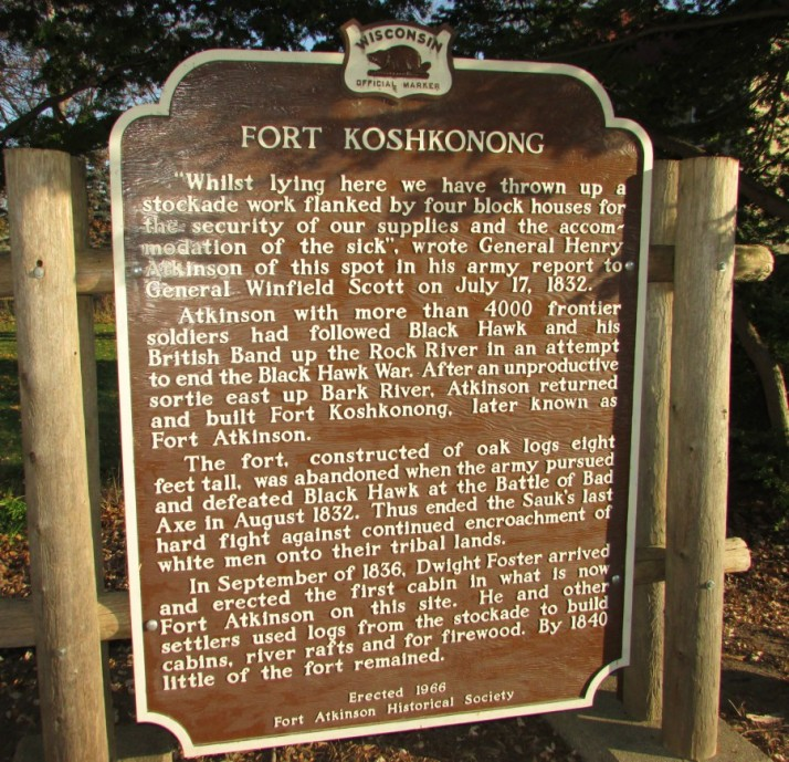 Fort Koshkonong Marker at Eli May house in Ft. Atkinson