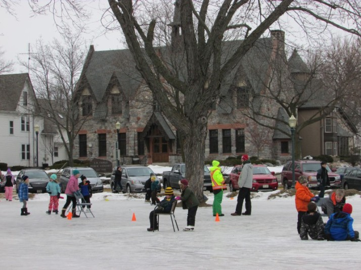 Ice Skating party in Lake Mills