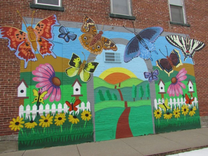 Butterfly mural in Prairie du Sac