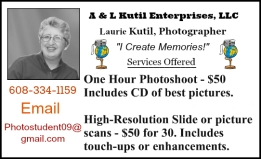 Laurie A & L Kutil Enterprises Business card 2016 border