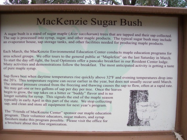 Sugar Bush sign at Mackenzie