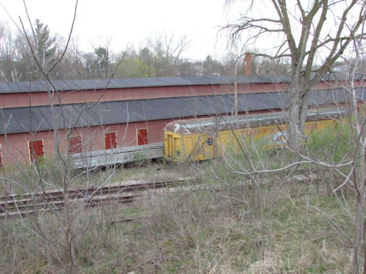 Rail car building and old train