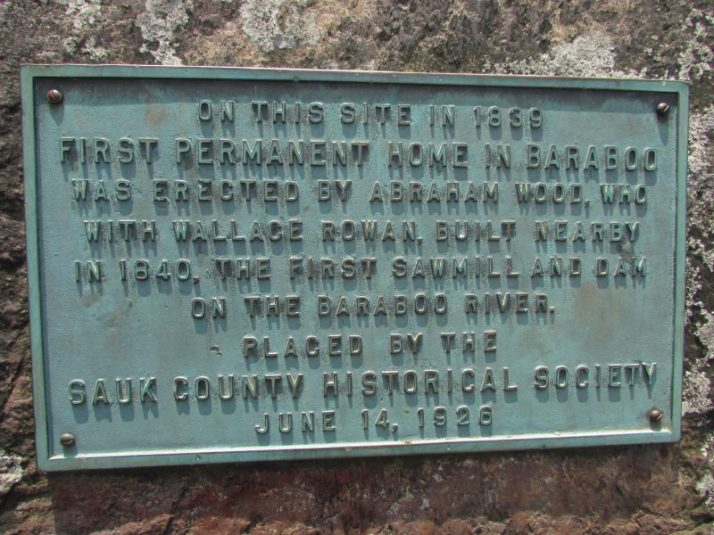 First Permanent home in Baraboo plaque in Ochsner Park