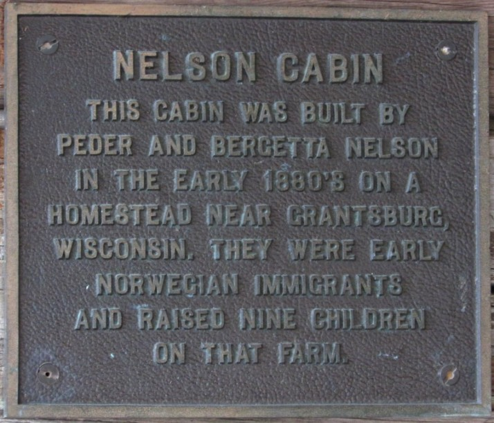 Nelson Cabin plaque