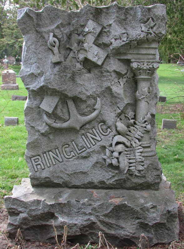 Ringling monument at St. Joseph Cemetery in Baraboo