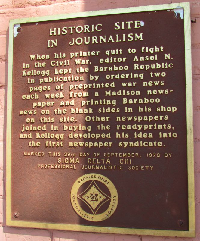 Village Cafe Journalism plaque in Baraboo
