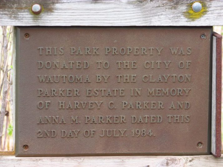 Wautoma Wetlands Park plaque