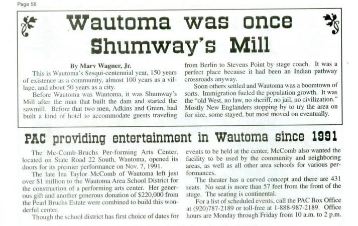 Shumway's Mill now Wautoma
