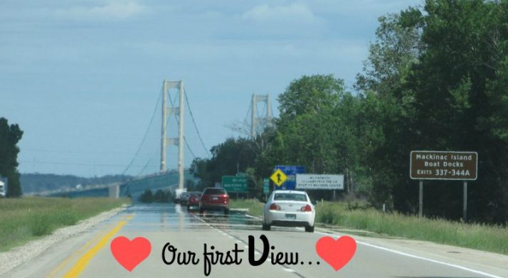First view of Mackinac Bridge text hearts
