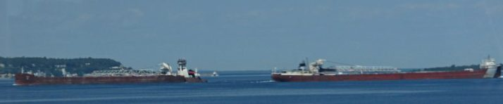Freighters passing each other