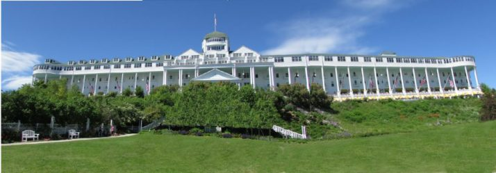 Grand Hotel from lawn on Mackinac Island