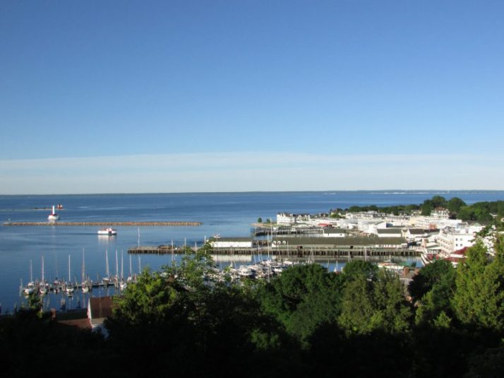 West Bluff view of harbor on Mackinac
