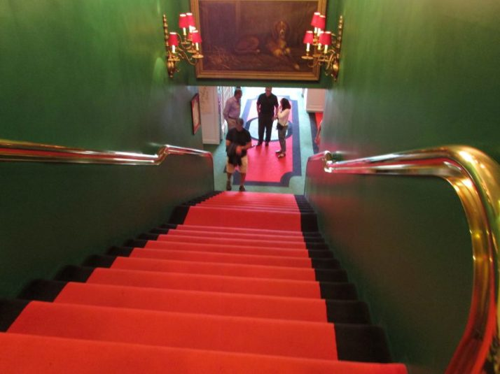 Stairs leading to shopping level of Grand Hotel