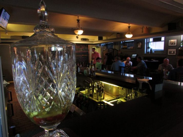 T.J.'s Pub crystal decanter in Manistee