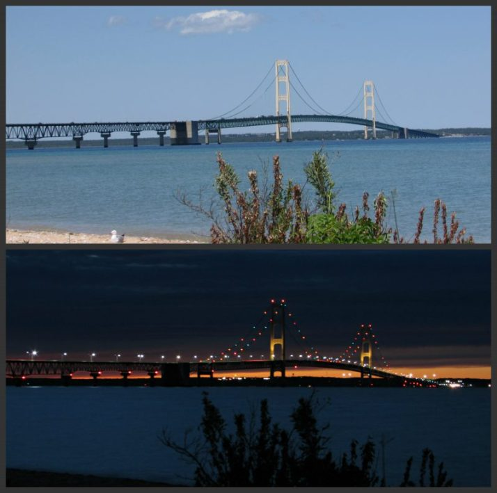 Mackinac Bridge from Gary Williams Memorial Park in Mackinaw City