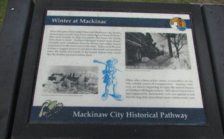 Mackinaw City Historical Pathway sign