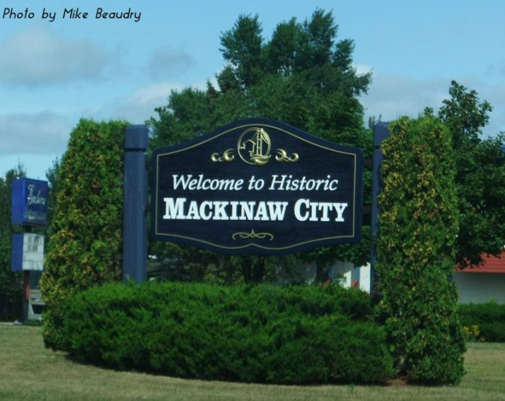 Mackinaw City sign-Mark Beaudry text