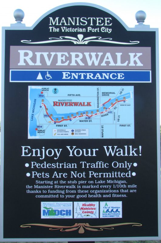 Manistee Riverwalk sign