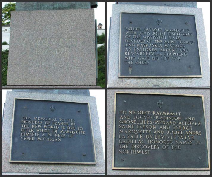 Marquette Statue plaques