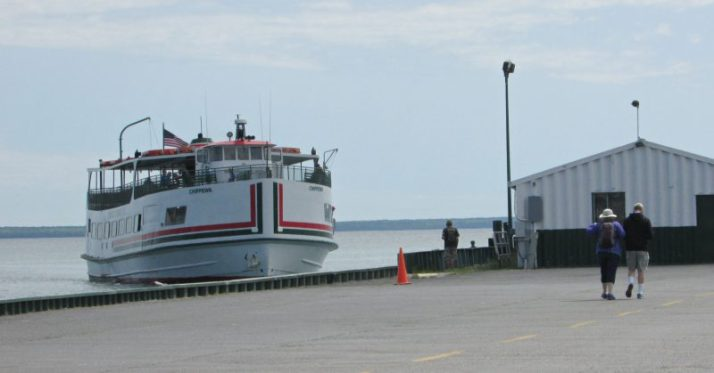 Meeting the ferry in Mackinaw City