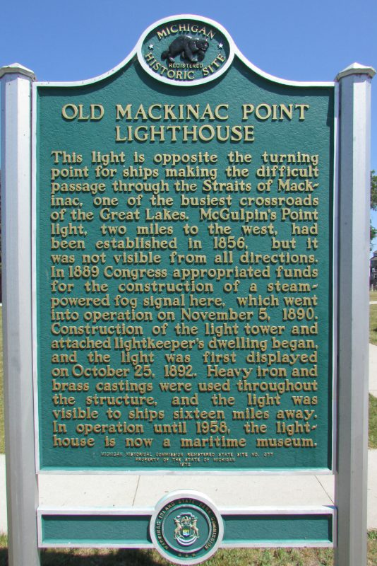 Old Mackinac Point Light House marker
