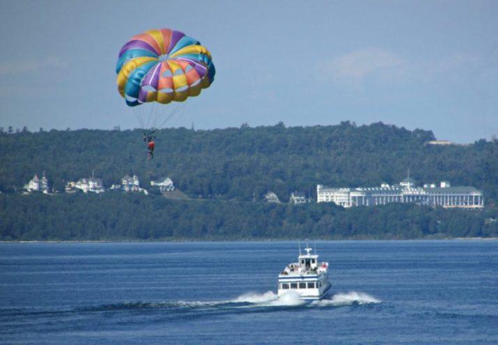 Parasailing and Mac island