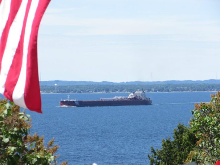 Presque Isle Freighter from Duluth, MN going by Grand Hotel