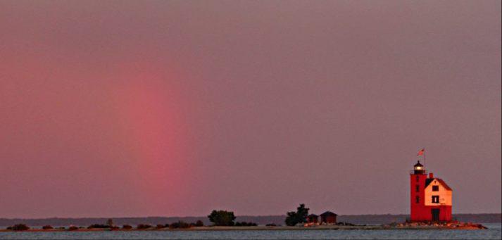 Round Island Light and rainbow
