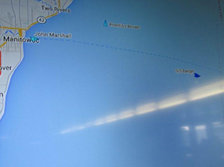 Ship locations on Lake Michigan