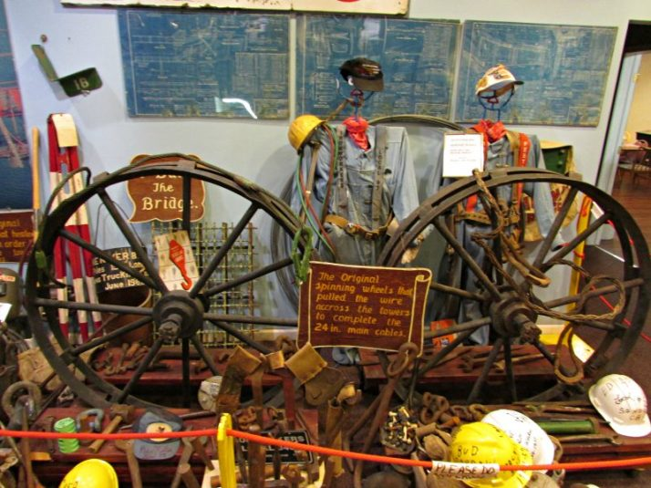Spuinning Wheel that pulled the wire across the spans of Mackinac Bridge