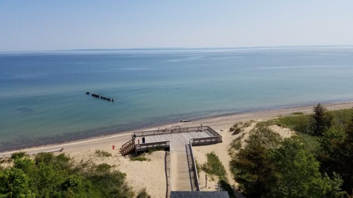 View of beach at Whitefish Point