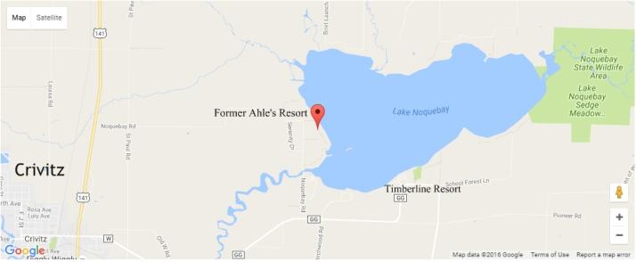 Ahle's Resort location on Lake Noquebay