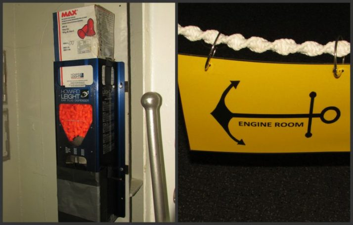 Ear Plugs and Engine Room sign