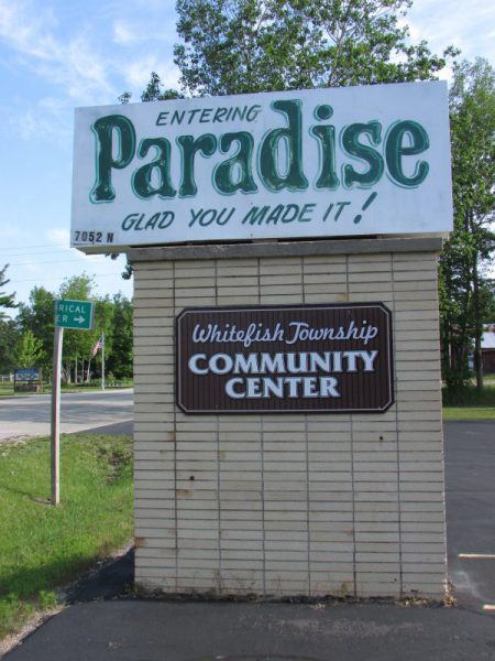 Entering Paradise sign
