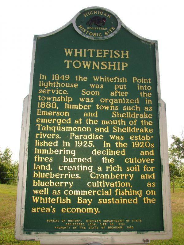 Whitefish Township historical marker