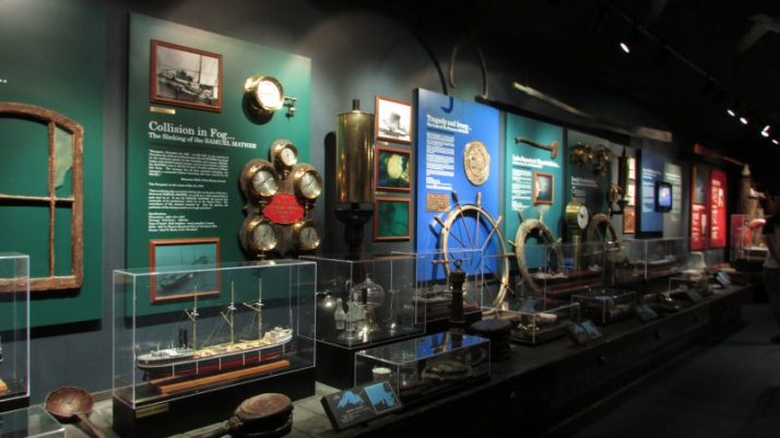 Wall of shipwrecks at museum