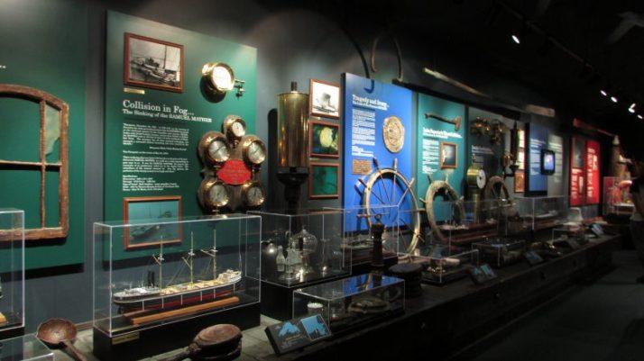 Wall of shipwrecks at museum