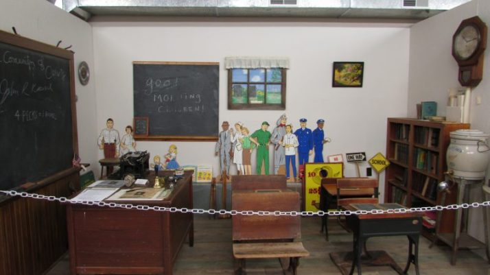 Schoolroom display at Crivitz Museum