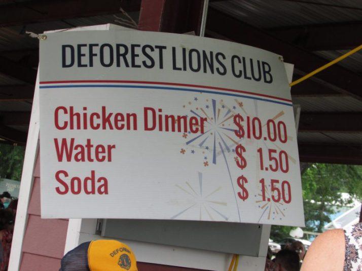DeForest Lions Club Chicken Dinner prices